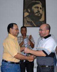 Tubal Páez, Randy Alonso y Angel Arzuaga (Vice Jefe del Departamento Ideológico del Comité Central del PCC).
