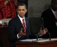 Barack Obama durante su informe sobre el estado de la nación, ayer en el Capitolio