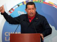 Hugo Chávez durante la conferencia de prensa en Cancún, México. Foto cortesía de Prensa Presidencial