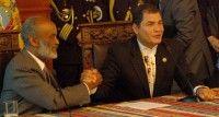 Rueda de prensa del primer mandatario de Haití, René Preval, y Presidente Rafael Correa, despues de la reunión extraordinaria de la UNASUR en el Palacio de Carondelet. (Emilio Sánchez/Presidencia de la República de Ecuador)