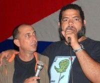 Kcho y Carlos Gonzalva integrantes de la Brigada Marta Machado