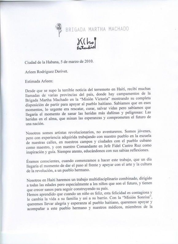 Carta de Kcho a Arleen