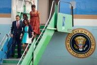 Llegada de Barack Obama a Brasil, acompañado de su esposa e hijas. Foto EFE