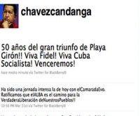 Chávez vía twitter felicita al pueblo cubano