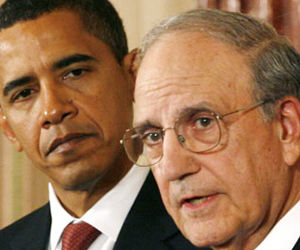 George Mitchell y Barack Obama