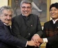 """José """"Pepe"""" Mujica, Fernando Lugo y Evo Morales"""