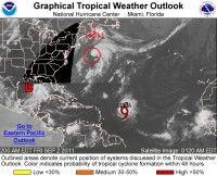 Imagen de la situación en toda el área del Caribe y Océano Atlántico. Foto Centro Nacional de Huracanes