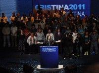Cristina habla al pueblo argentino después de anunciado su triunfo electoral. Foto: Kaloian