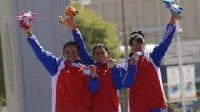 Arlenis Sierra (oro), Yumari González (plata) y Yudelmis Domínguez (bronce) arrasaron con el podio en la prueba de ruta del ciclismo, en los XVI Juegos Panamericanos Guadalajara 2011. Foto: Juan Moreno