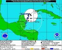 Trayectoria de la Tormenta Tropical Rina. Foto: NOAA