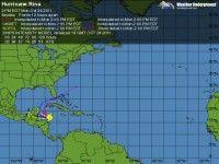 Cono de probabilidades de la Tormenta Tropical Ria. Foto: Weather Underground