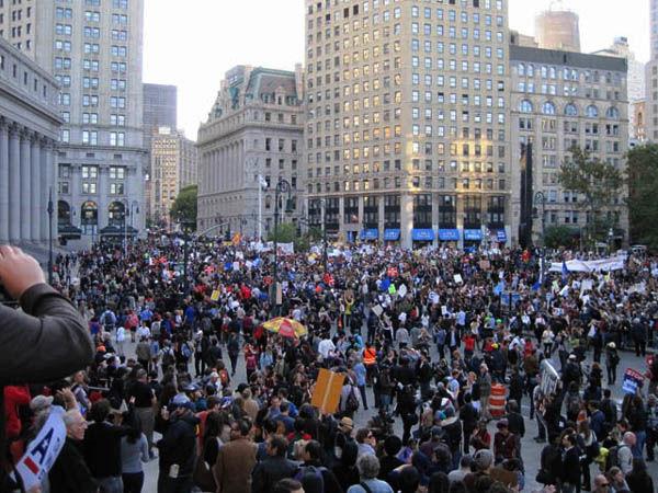 Protesta que congregó a sindicatos en Foley Square el 5 de octubre