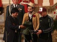 Evo Morales recibe a Calle 13.  Foto: EFE