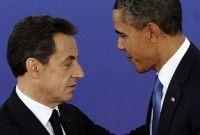 El presidente francés Nicolas Sarkozy y el de EEUU, Barack Obama, dialogan durante la Cumbre de Cannes el 3 de noviembre. Foto: AFP