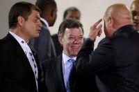 Rafael Correa, Juan Manuel Santos y Hugo Chávez