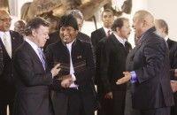Evo Morales, Juan Manuel Santos y Hugo Chávez