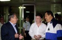 Raúl Castro, Juan Manuel Santos y Hugo Chávez en La Habana. Foto: Presidencia Venezuela