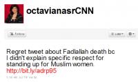 El mensaje en Twitter que costó el despido de Octavia Nasr, periodista de CNN.