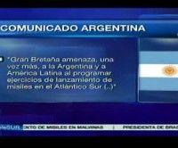 Argentina rechaza maniobras con misiles de Londres en el Atlántico Sur