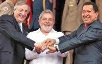 Momento del entierro del AlCA. Lula, Kichner y Chávez.