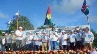 Acto con motivo del aniversario 40 de la educación internacionalista en Isla de la Juventud, realizado en la plaza Memorial El Pinero, con la presencia de ex becarios de Ghana, Namibia, Etiopía y Nicaragua