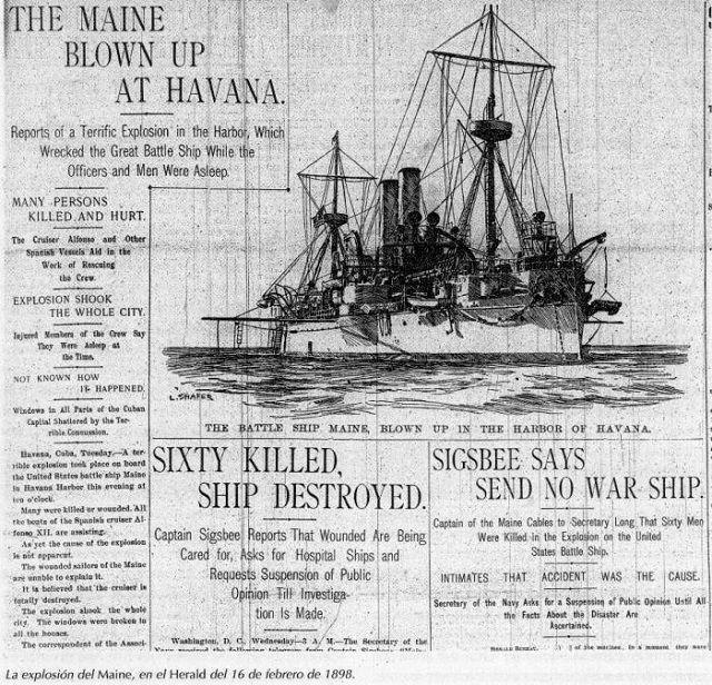 Portada del periódico Herald de Estados Unidos el 16 de febrero de 1898. Foto: Archivo