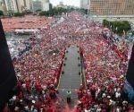 Así lucía la avenida Bolívar, una de las principales arterias de Caracas, para el cierre de campaña de Maduro, cuatro días antes de las elecciones presidenciales.