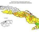En siete provincias del centro y del oriente se concentraron las lluvias. Mapa: Cortesía Inrh