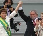 Lula (c) y Rousseff (i) encabezaron los Gobiernos del Partido de los Trabajadores. Foto: EFE