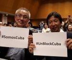 «Somos Cuba» y «No al bloqueo» fueron algunas de las consignas que más repitieron los diferentes colectivos reunidos en esta cita