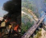 Los guarimberos quedaron grabados cuando quemaban los camiones de la suuesta ayuda humanitaria